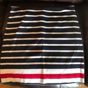 Banana Republic Navy, White, Red Ponte Skirt